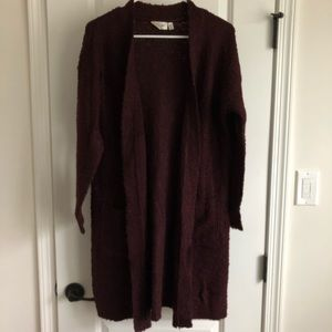 RD Style Duster Cardigan. Burgundy, Size M.
